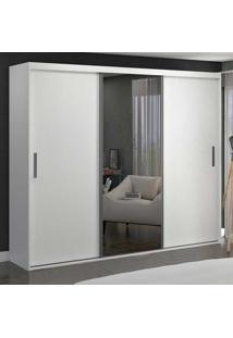 Guarda-Roupa Casal 3 Portas De Correr Com 1 Espelho 100% Mdf 1987E1 Branco - Foscarini