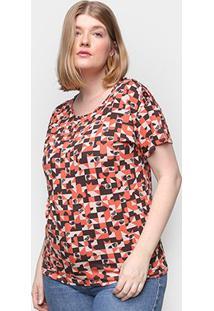 Blusa Wee! Plus Size Básica Floral Feminina - Feminino-Laranja
