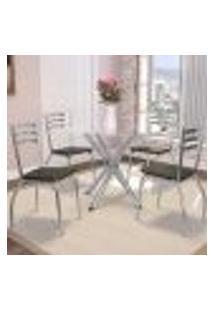 Jogo De Mesa Redonda 4 Cadeiras Kappesberg Crome Cromado/Marrom