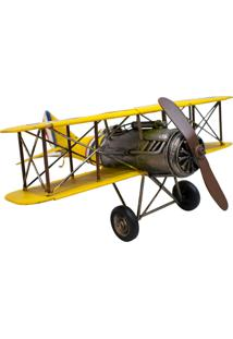 Enfeite Retrô Minas De Presentes Avião Amarelo - Kanui
