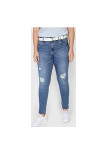 Calça Jeans Lez A Lez Skinny Destroyed Azul