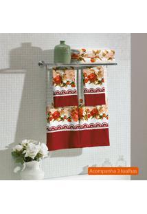 Kit Com 3 Toalhas De Banho Flora Vermelho