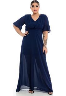 Vestido De Crepe Fluido Plus Size