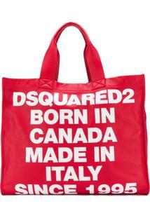 Dsquared2 Bolsa Tote Grande Com Logo - Vermelho