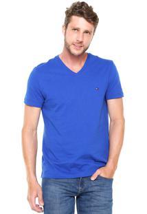 Camiseta Tommy Hilfiger Regular Fit Gola V Azul