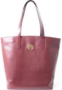 Bolsa Shopper Couro Mariart 5220 Feminina - Feminino-Vermelho