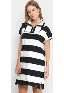 Vestido Ellus Polo Listras Feminino - Feminino-Preto
