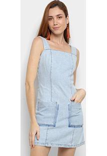 Vestido Jeans Cantão Bolsos - Feminino-Azul