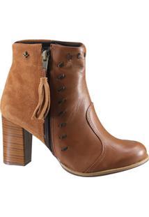 Bota Ankle Boot Cravo E Canela