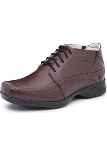 Bota Social Sapato Couro Store Confort De Amarrar Marrom