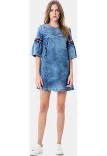 Vestido Com Bordado Jeans - Lez A Lez