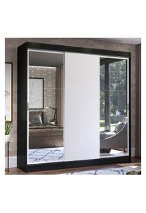 Guarda-Roupa Casal Madesa Istambul 3 Portas De Correr Com Espelhos 3 Gavetas - Preto/Branco Preto