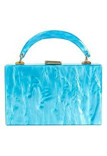 Bolsa De Acrílico Isla Galerias Com Alça Marmorizada Cor Azul Cielo