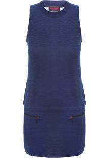 Vestido Regata Fleece Detal - Azul
