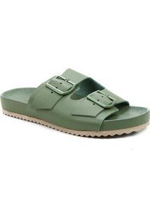 Rasteira Couro Shoestock Birken Tiras Duplas Fivela Pelo Animal Print Onça - Feminino-Verde Militar