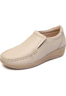 Sapato Anabela Conforto Mager Cor - Marfim