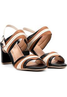 Sandália Comfortflex Salto Grosso Ondas Feminina - Feminino-Preto+Caramelo
