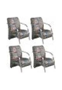 Conjunto De 4 Poltronas Sevilha Decorativa Braço Alumínio Cadeira Para Recepção, Sala Estar Tv Espera, Escritório - Poliéster Estampa 310