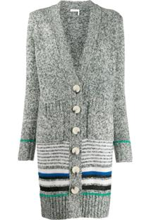 See By Chloé Striped Long Cardi-Coat - Cinza