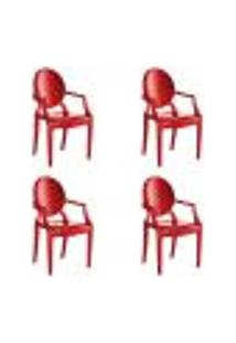 Kit 4 Cadeiras Wind Plus Em Polipropileno Kappesberg - Vermelho