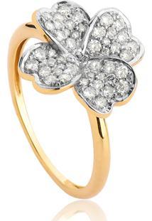 Anel De Ouro 18K Trevo Com Diamantes Rodinados-Coleção Tréfle