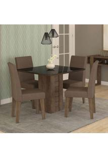 Conjunto De Mesa De Jantar Quadrada Rafaela Com 4 Cadeiras Milena Suede Chocolate E Preto