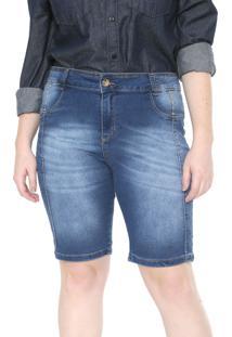 Bermuda Jeans Plus Size Da Vgi Azul