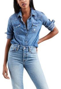Camisa Jeans Levis Feminina Ultimate Western Azul Médio Azul