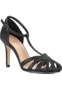 Sandália Shoestock Salto Fino Tiras Feminina - Feminino-Preto