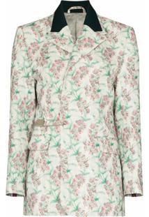 Charles Jeffrey Loverboy Blazer Com Abotoamento Simples E Estampa Floral - Branco