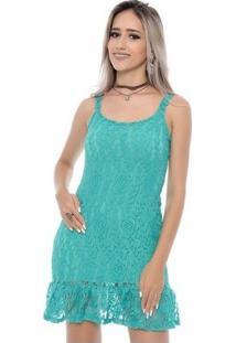 Vestido Bbonnie De Alça Curto De Renda - Feminino-Verde