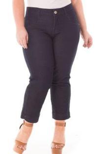 Calça Feminina Jeans Confidencial Extra Pantacourt Com Lycra Plus Size - Feminino