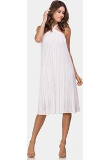 Vestido Frente Única Tricô Mídi Branco Off White - Lez A Lez