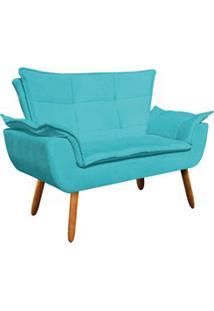 Poltrona Namoradeira 2 Lugares Pés Palito Opla Suede Azul Tiffany- Ibi