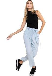 Calça Jeans Carrot Laço Cintura Feminina - Feminino-Azul Claro