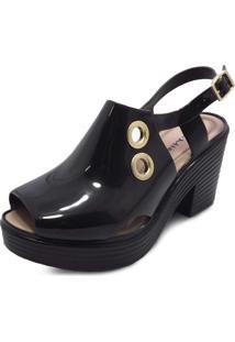 Sandália Boot Sola Alta Miss Miss Preto