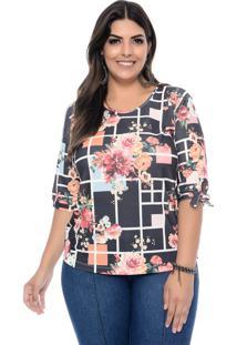 Blusa Marie Plus Size Black Flower