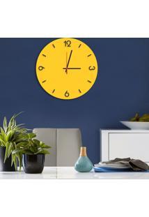 Relógio De Parede Decorativo Premium Amarelo Com Números Em Relevo Médio