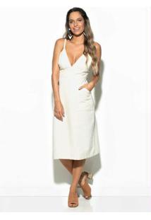 Vestido Sarja Midi Branco