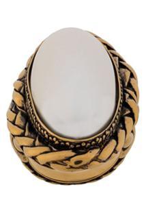 Alexander Mcqueen Anel Com Pedra Oval - Dourado