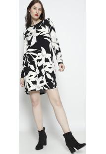 Vestido Floral Com Recortes- Preto & Branco- Forumforum