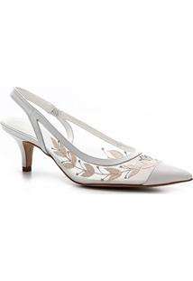 Scarpin Shoestock Slingback Bordado Noiva - Feminino-Branco