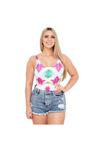 Body Suplex Feminino Collant Regata Tie Dye Colorfull