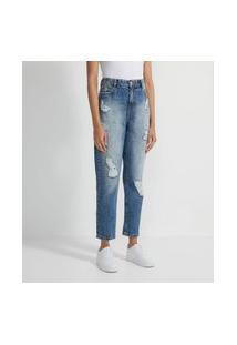 Calça Mom Jeans Com Elástico Na Cintura Destroyed   Blue Steel   Azul Claro   34