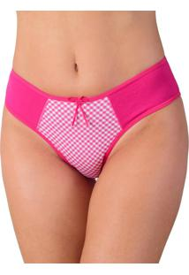 Calcinha Vip Lingerie Em Cotton Liso E Frente Estampada - Calct038 Rosa