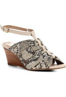 Sandália Anabela Couro Shoestock Drapeado - Feminino