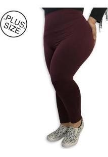 Legging Plus Size Heide Ribeiro Suplex Basic Feminina - Feminino-Vinho