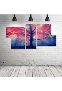 Quadro Decorativo - Pink-Amp-Blue-Tree - Composto De 5 Quadros