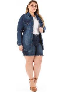 Jaqueta Jeans Feminina Alongada Plus Size - Feminino-Azul
