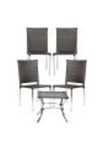 Jogo Cadeiras 4Un E Mesa De Centro Blumenau Para Edicula Jardim Area Varanda Descanso - Tabaco
